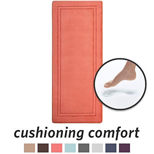 (MICRODRY Quick Drying Memory Foam Bath Mat with GripTex Skid-Resistant Base, Runner - 24x58, Coral)