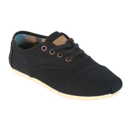 TOMS Women's Cordones Shoe Black Canvas (6)