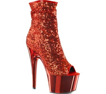 Pleaser ADORE-1008SQ Red Sequins/Red Chrome