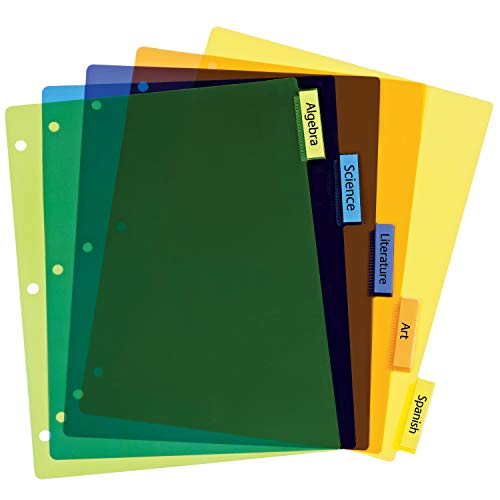Avery 5-Tab Plastic Binder Dividers, Insertable Multicolor Big Tabs, 1 Set (11900) by Avery (Image #7)