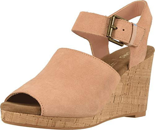 Pink Platforms Wedges Shoes - TOMS Women's Tropez Coral Pink Suede 6 B US