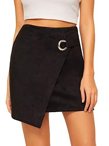 WDIRARA Women's Asymmetrical Hem Above Knee Mid Waist O-Ring Short Skirt Black M - O-ring Skirt
