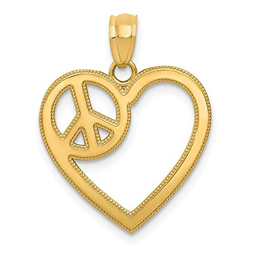 - 14k Yellow Gold Heart Peace Sign Pendant Charm Necklace Love Fine Jewelry Gifts For Women For Her