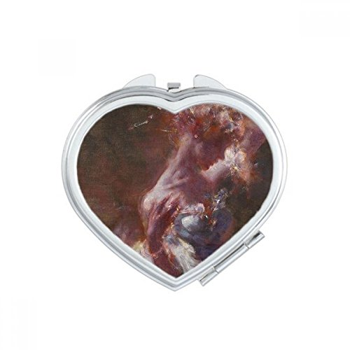 (DIYthinker Wet Rouge Beauty XJJ Oil Painting Heart Compact Makeup Mirror Portable Cute Hand Pocket Mirrors Gift)