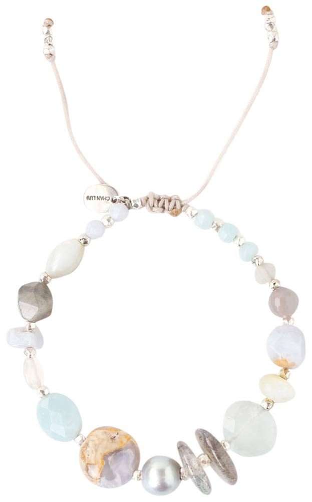 Chan Luu Amazonite Light Blue Mix Pull-tie Adjustable Bracelet by Chan Luu