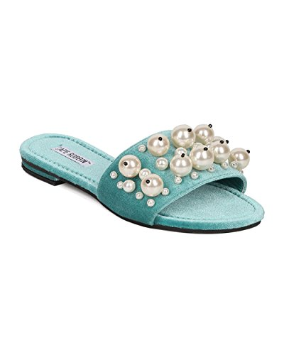 Cape Robbin Velours Faux Pearl Sandaal Voor Vrouwen - Casual, Chic, Trendy - Pearl Slide - Gh30 By Aqua