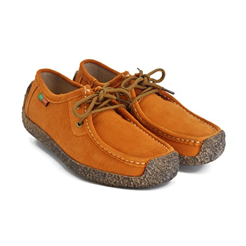 Shoes Casual Snail Walking Lace Sneaker up Women Susanny Flat Orange Suede Oxford wCaqXEq8