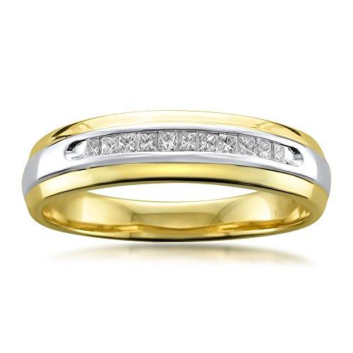 La4ve Diamonds 14k Two-Tone Yellow Gold with Rhodium Princess-Cut Diamond Men's Wedding Band Ring (1/4 cttw, I-J, I1-I2), Size 11 14k Two Tone Diamond Band