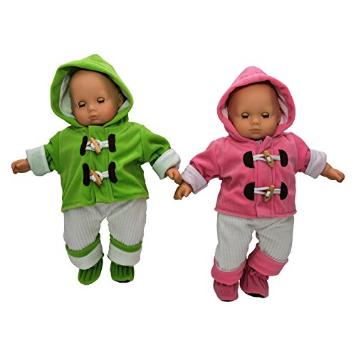(The Queen's Treasures Set of Two Complete Bitty 15 Inch Baby Doll Twin Overall Outfits Pink & Green, Overalls, Shirt, Bootie Shoes. Two Complete Outfits fit Bitty Baby)