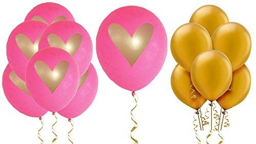 Hot Pink Gold Heart Balloons Love 12