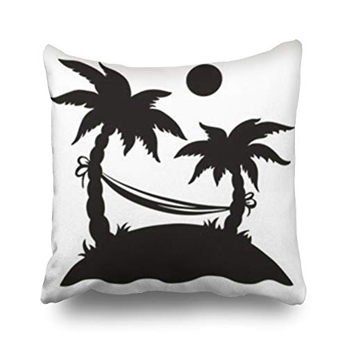 (Hitime Throw Pillow Covers Sun Palm Island Hammock Abstract Black Nature Frond Pillowcase Square Size 16 x 16 Inches Decorative Home Bedroom Sofa Couch Cushion Cases )