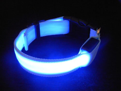 LED Dog Pet Collar Flashing Luminous Adjustable Safety Nylon Tag Light Up Bright for medium and large size