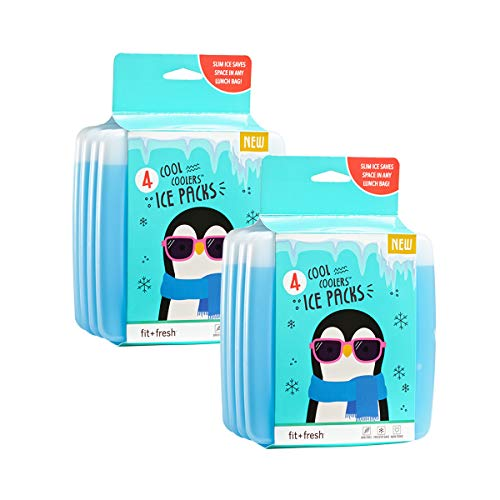 Fit + Fresh Cool Coolers Slim Ice Packs, Reusable