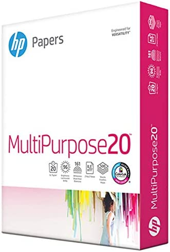HP Paper Printer 8.5x11 MultiPurpose 20 lb 1 Ream 500 Sheets 96 Bright Made in USA FSC Certified Copy Paper HP Compatible 212000R, White, 212500