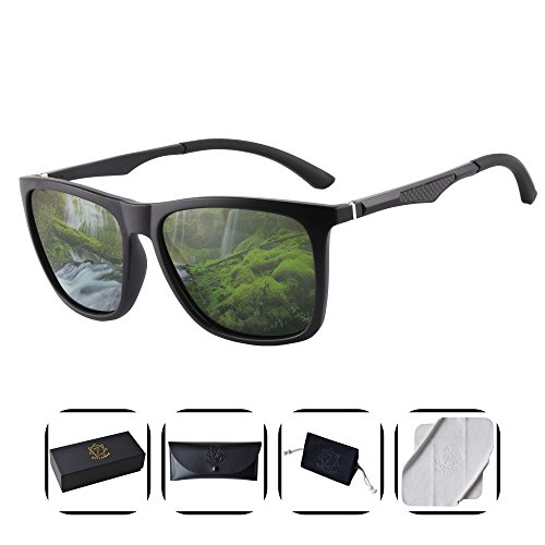 Heptagram Unisex Wafarer Mg-Al Hot Retro Ultra Light Sunglasses for Driving Fishing Golf Outdoor (Black matte / - Shades Golf