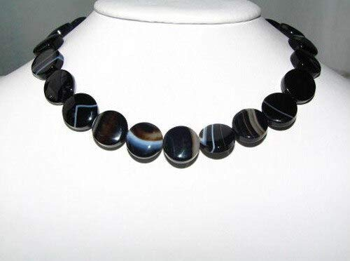Black and White Sardonyx Agate 15mm Coin Bead Strand for Jewelry Making108580