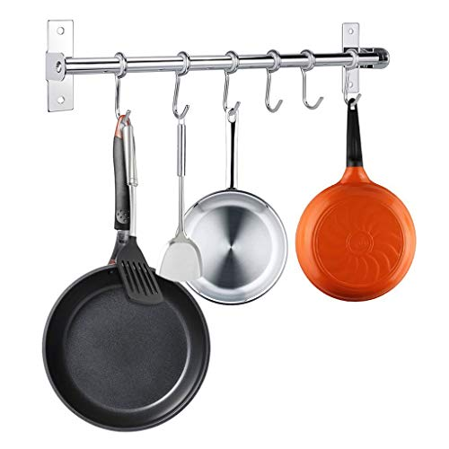 (Kitchen Pot Pan Rack, WILLOR Wall Mounted Kitchen Utensils Hanger Lid Holder Stainless Steel Rail 15.75 Inch with 6 Hooks)