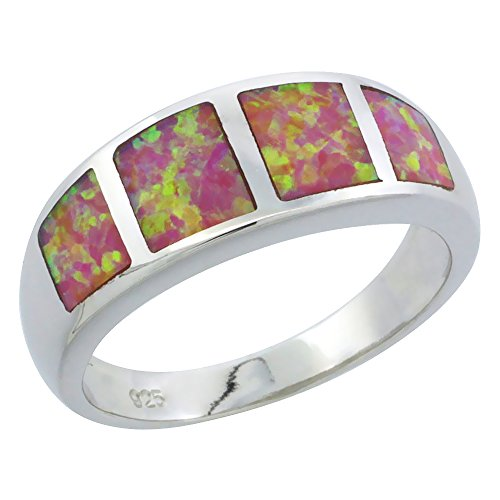 (Sterling Silver Pink Synthetic Opal Band Ring for Women Square Inlays Tapered 5/16 inch size 7)