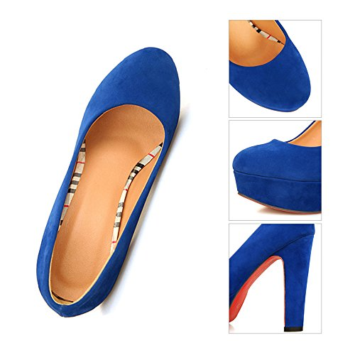 Fluff Shoes Super cut blue 37 Plus High Thin Women Platform Heel Size Low Round wqrUzYqpC
