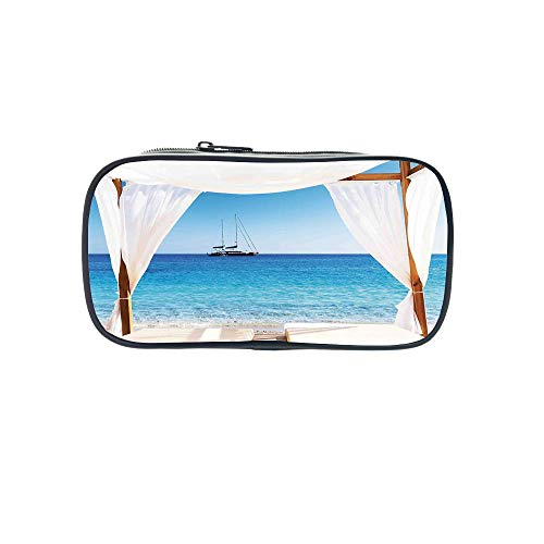 Polychromatic OptionalPen Bag,Balinese Decor,Beach Through A Balinese Bed Summer Sunshine Clear Sky Honeymoon Natural Spa Picture,Blue White,for Kids,Diversified Design by iPrint