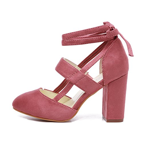 GATUXUS Women Sexy High Heels Pumps Sandals Suede Ankle-Wrap Straps Heeled Shoes (7 B(M) US, Pink) ()