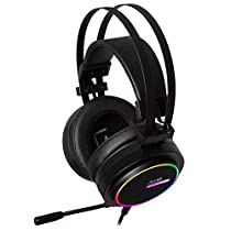 AIM - Cascos Gaming Profesional, (Sonido posicional 7.1, Iluminación RGB 16.8 millones de colores con 4 modos, Drivers de neodimio 50mm, Micrófono flexible con cancelación de ruido, PC&PS4), negro