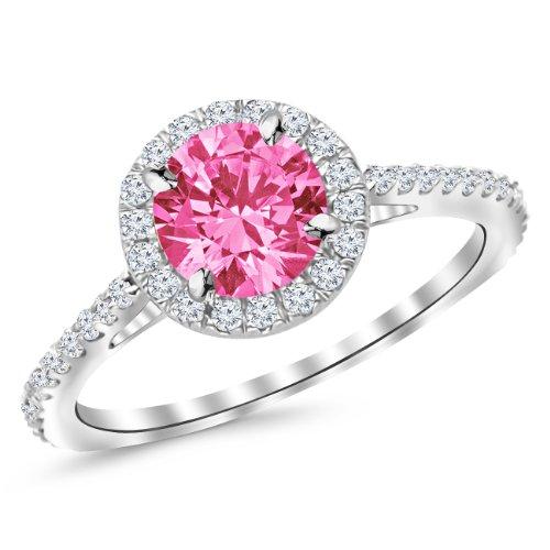 - 1.05 Ctw 14K White Gold Classic Round Diamond Engagement Ring w/ 0.75 Carat Pink Sapphire