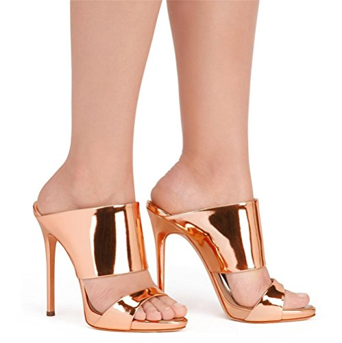 alto Lavoro Dito pantofola Argento Donna piede Tacco Sexy 4 Festa a EUR 5 UK 5 mano Scarpe sandali 37 Oro Stiletto del Discoteca Vestito fatto Sbirciare PZX5aqX