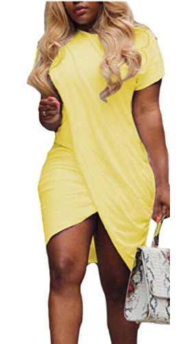 Bodycon Sleeve Jaycargogo Midi Womens Short Wrap Slit Yellow Dress 1pc6Bqz
