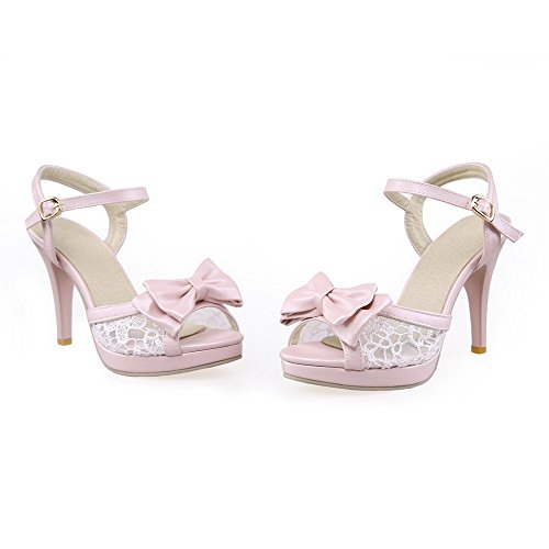 VogueZone009 Women's Peep Toe High-Heels Soft Material Solid Buckle Heeled-Sandals Pink rTrUs9yrC