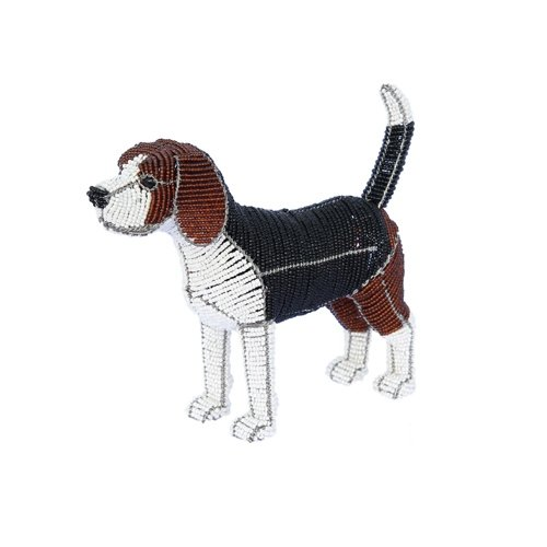 Grass Beadworx (Grass Roots Creations Beagle Dog Beadworx Sculpture, Brown/Black and White)