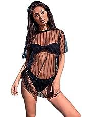 DingSORA Women Mesh Sheer See Through Bikini Cover Up Sexy Transparent Blouse Clubwear Swimwear Beach Dress