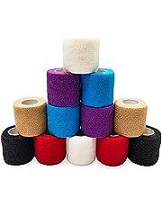SUPERBE Självhäftande bandage 5 cm x 4,5 m, 12-pack sammanhängande bandage veterinär wrap för första hjälpen, sport och handled, ankelstukningar och svullnad