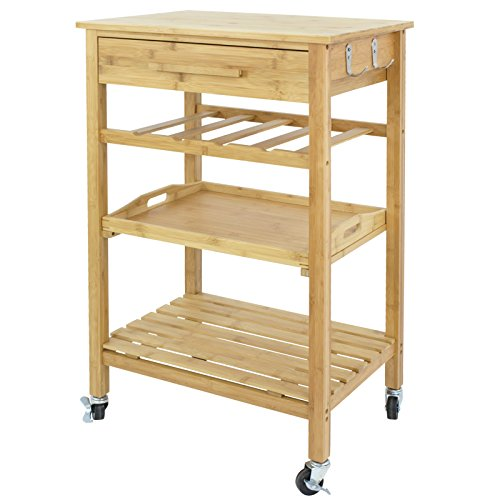 Nova Microdermabrasion Rolling Kitchen Island Storage Trolley Bakers Cart Rack w/Storage Drawers Dining Stand Countertop (Bamboo)