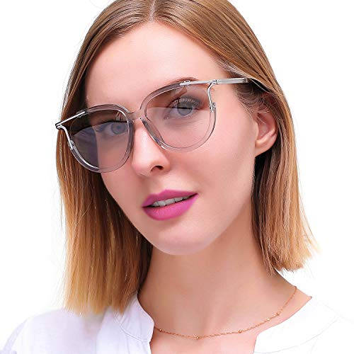 (LVIOE Women's Cateye Sunglasses Cut-out Frame (Silver Transparent Cut-Out Frame/Transparent Grey Lens))