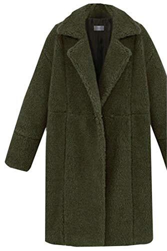 Outwear Lunga Tasche Aperta Manica Cappotti Anteriori Pile Donne Eku Armygreen Con wzq0TA