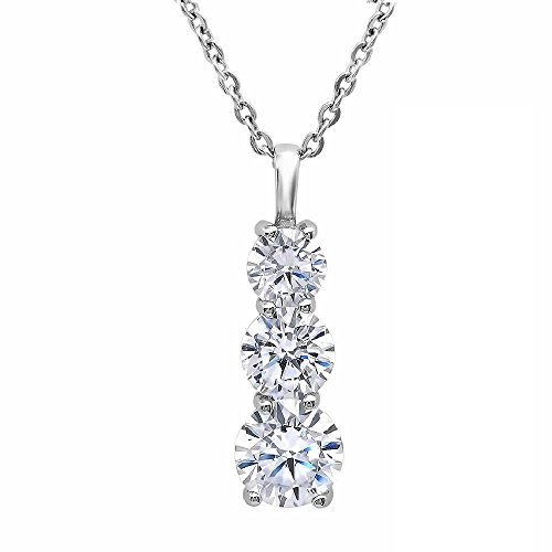 Three Stone Cubic Zirconia Pendant in Sterling Silver 4ct TGW 18 inch Chain
