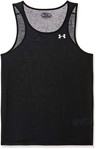 (Under Armour Men's Threadborne Streaker Singlet, Black/Reflective, Medium)