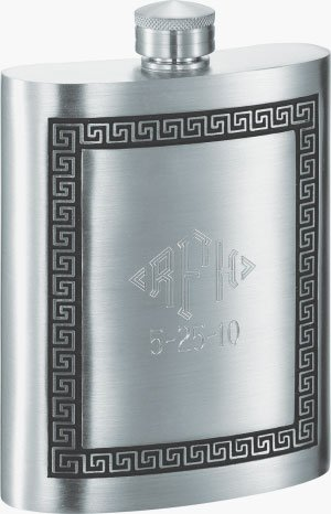 Personalized Visol Kalos Greek Design Pewter 8 oz Flask with Free Engraving by Visol