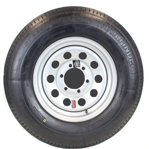 15 Inch Silver Modular Trailer Wheel with Radial TrailFinder ST22575R15E Tire Mounted 6 Lug 5.5 Inch Bolt Circle (Tire Horse)