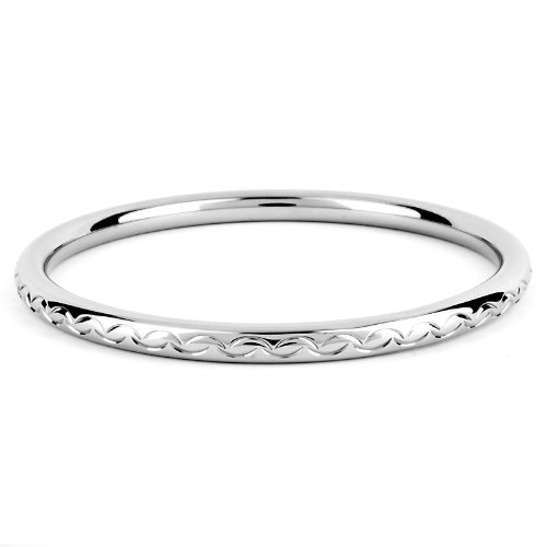 West Coast Jewelry | ELYA Stainless Steel Scalloped Design Bangle Bracelet