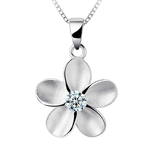 Eove Jewelry Sterling Silver Women Hawaiian Plumeria Flower CZ Necklace Pendant with 16