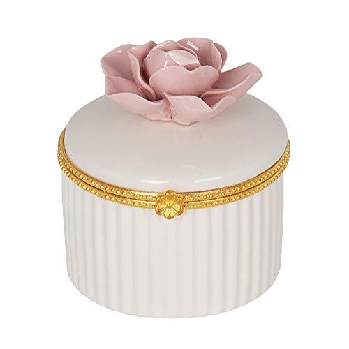 Ceramic Box Gift (SHIYUAN Ceramic Jewelry Box Jewelry Storage Ceramic Jewelry Storage Box Girl Gift (Flower, Pink))