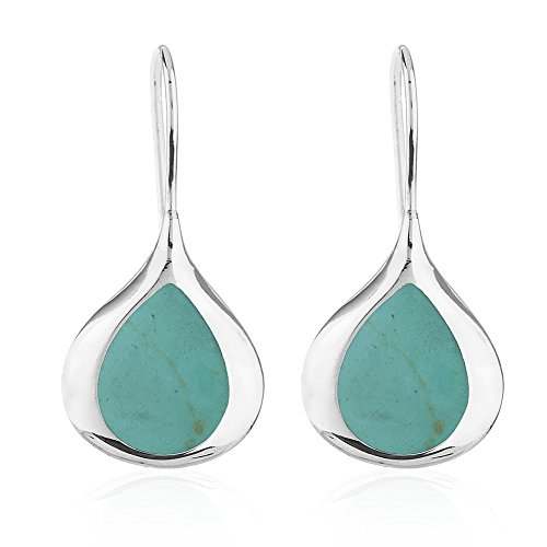 Zodiac Gemstone Earrings - 925 Sterling Silver Rimmed Blue Reconstructed Turquoise Gemstone Minimalist Drop Earrings