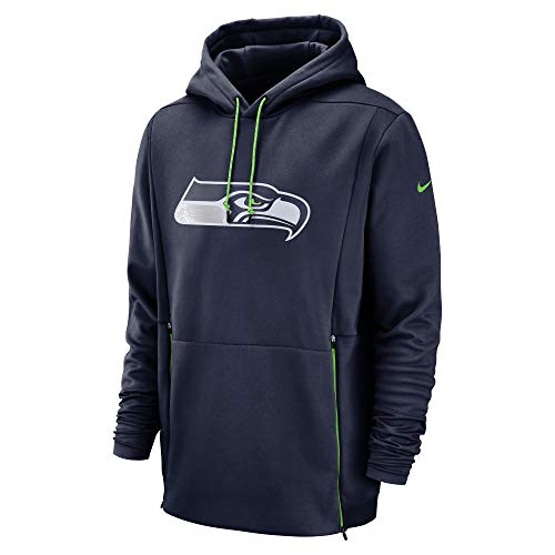 Nike Therma (NFL Seattle Seahawks) Men's Hoodie (College Navy/Action Green, X-Large)