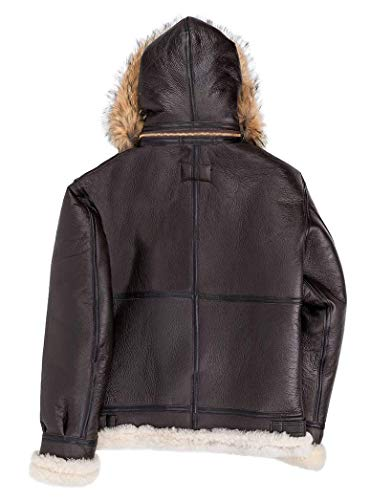 Cockpit USA Bombardier B3 en Cuir Mouton Shearling avec Capuche Fourrure Coyote Ex Avirex Made in USA 4