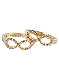 2 Special and Beautiful Design Girls and Womens Infinity Sisters Friendship Rings Golden