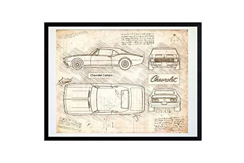 DolanPaperCo #461 Chevrolet Camaro Coupe (1967) Art Print, da Vinci Sketch - Unframed - Multiple Size/Color Options (8x10, Vintage)