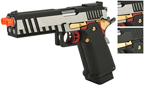 Evike AW Custom AX-HX2101 Double Barrel Hi-Capa Gas Blowback Airsoft Pistol – Two Tone – (62601) Review