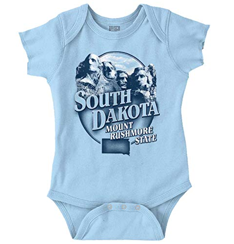 South Dakota Mount Rushmore SD Map Souvenir Romper Bodysuit Light Blue